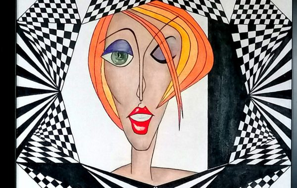 """ Madmoiselle "", Acryl auf Keilrahmen mit Rahmen 63 x 83 cm"