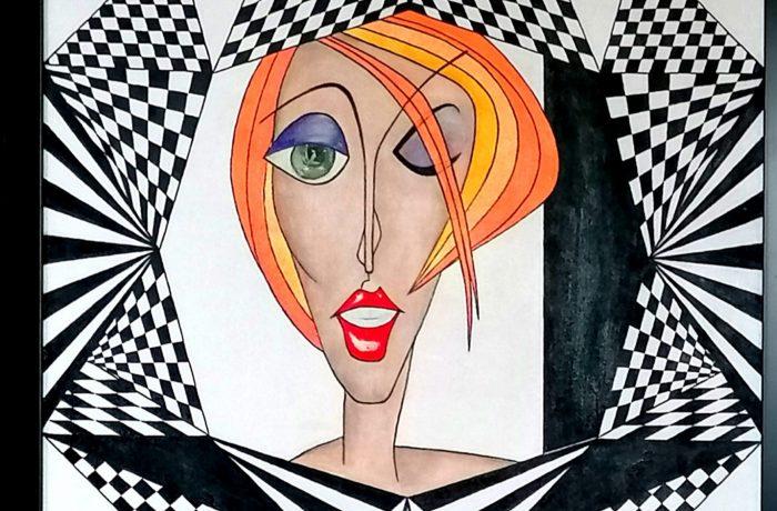 """ Mademoiselle "", Acryl auf Keilrahmen mit Rahmen 63 x 83 cm"