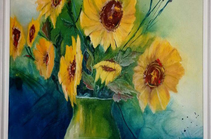 Ein Strauss Sonnenblumen, Eitempera auf Keilrahmen mit Rahmen 64 x 84 cm
