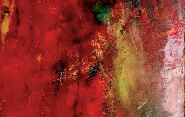 """""""Abstrakt rot"""", Acryl auf Keilrahmen 35 x 100 cm"""