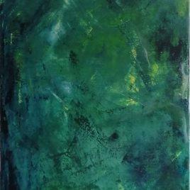 """Abstrakt grün"", Acryl auf Keilrahmen 35 x 100 cm"