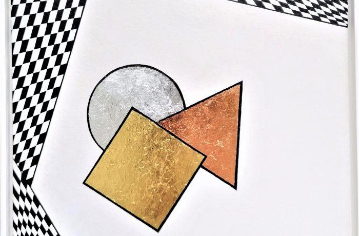 """""""Modern Art – metallic"""", Acryl mit echter Gold-, Silber- und Rotgoldfolie auf Keilrahmen mit Rahmen 62 x 62 cm"""