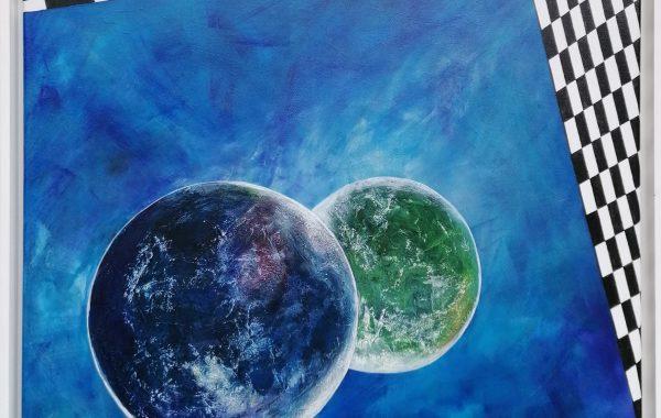 """Modern Art – Universum"", Acryl auf Keilrahmen mit Rahmen 62 x 62 cm"