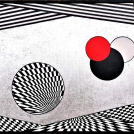 """""""Modern Art – exclusive"""", Acryl mit echter Silberfolie auf Keilrahmen mit Rahmen 118 x 78 cm"""
