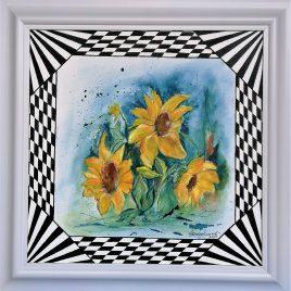 """""""Sonnenblumen – my art"""", Acryl auf Malplatte mit Rahmen 60 x 60 cm"""