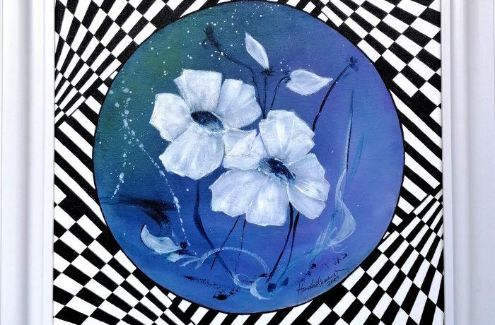 """""""Lila Blumen – my art"""", Acryl auf Malplatte mit Rahmen 60 x 60 cm"""