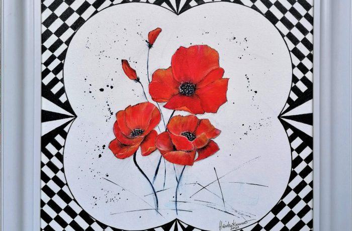 """Roter Mohn – my art"", Acryl auf Malplatte mit Rahmen 60 x 60 cm"