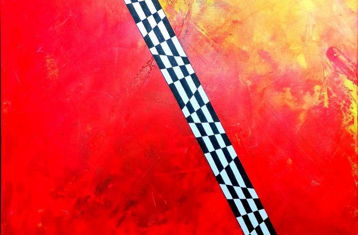 """""""Auf der Zielgerade"""", Acryl auf Keilrahmen 80 x 80 x 4 cm"""