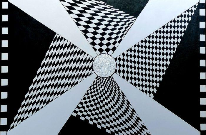 """""""Punktgenau"""", Acryl auf Keilrahmen 80 x 80 x 4 cm"""